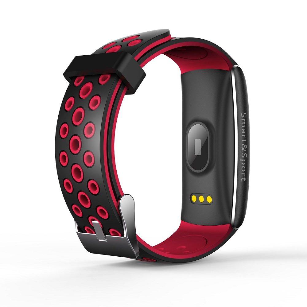 Fitness Tracker Smartband, Eschone Slim Touch HR Heart Rate Waterproof Activity Tracker Wireless Bluetooth Smart Bracelet Watch Sleep Monitor Pedometer (Red)