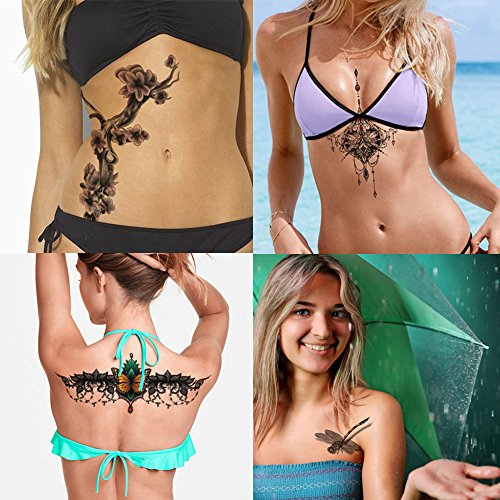[4 Sheets Sexy Women Jewelry Totem Temporary Tattoo Sticker Decal Body Art Makeup Waterproof Fake for Lady Chest, Back, Waist, Leg, Arm,] (Last Minute Halloween Costumes For Babies)