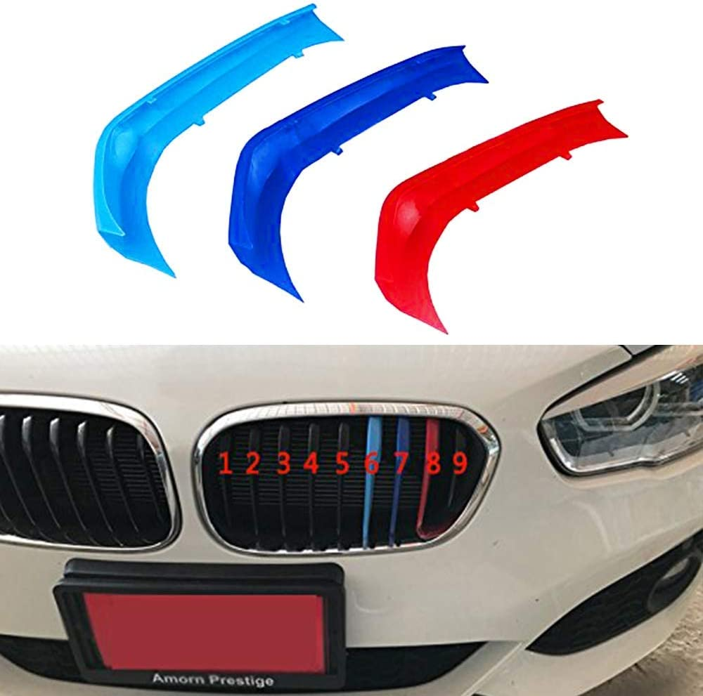 In Grill inserts Grille Cover Stripes compatible with cars F20 F21 Series 1 2015-2017 9 Bars M Power Sport Tech Performance Styling Tuning Clip