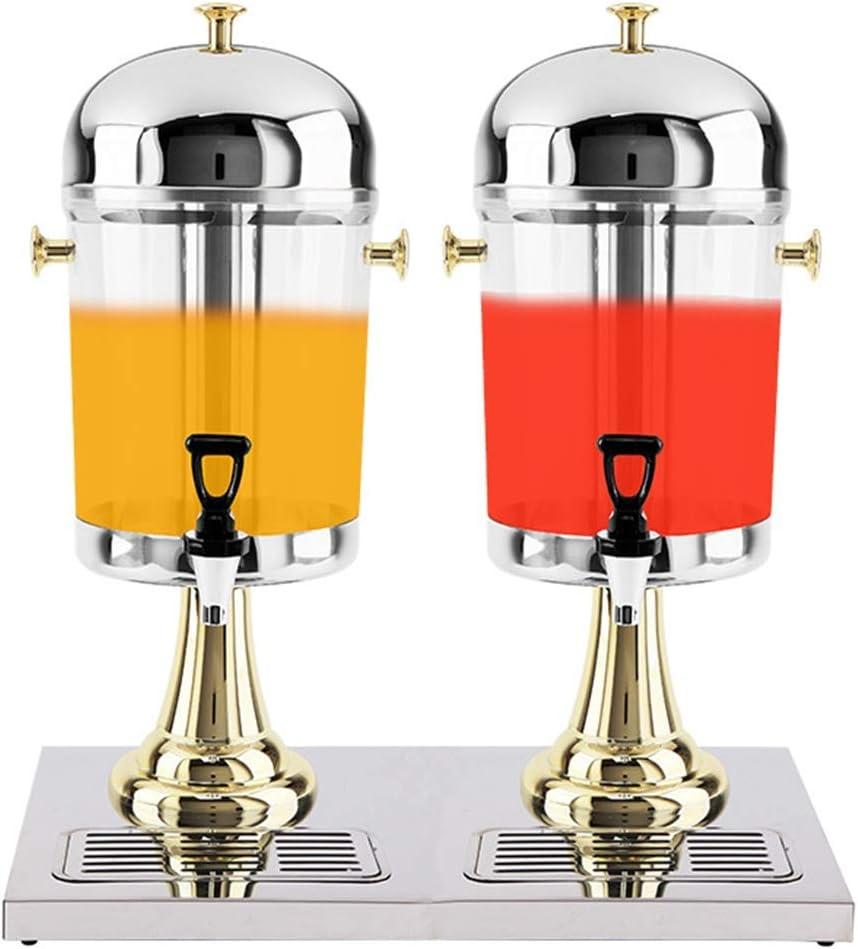 ダブル蛇口ジュース丁ビュッフェは、漏れのない蛇口を持つマシン炭酸飲料機、PC飲料ディスペンサーを、ドリンク、(サイズ:16L) アイス飲料ディスペンサー (色 : ゴールド, サイズ : 46.7x35x59cm)