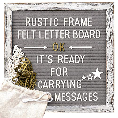 Tukuos Rustic Felt Letter Board, 752 Black & Gold & White Letters, Months & Days Cursive Words with 10x10 Inch Weathered Antique Frame, Large & Medium Letters,Double Sided by Tukuos (Image #2)