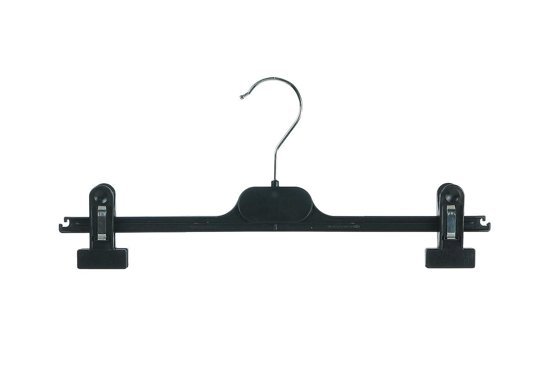 Quality Black Adjustable Grip Waist Plastic Clip Hangers Trouser Skirt 36cm