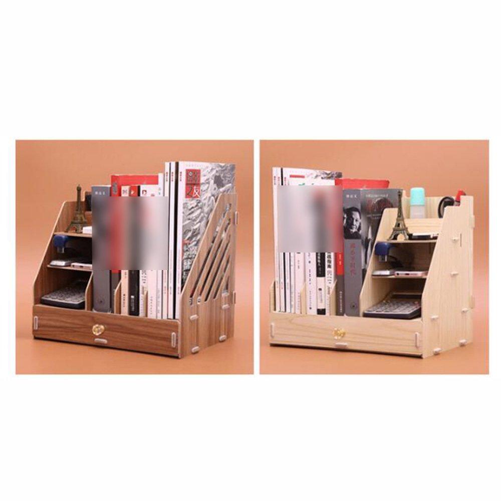 Bookcase by Librería De Marcos Marcos De De Archivo Soportes De Escritorio para Archivos De Madera Soportes De Libros para Estudiantes Organizador De Escritorio De Oficina Soportes De Mesa,B 339931