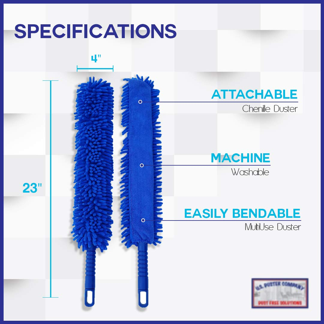 Ceiling Fan Duster Cobweb Duster, Extendable Reach 20 feet,   3-Stage Aluminum Telescoping Pole   Extends for High Ceiling Duster   Long Handle Plus 2 Duster Heads by U.S. Duster Company (Image #7)