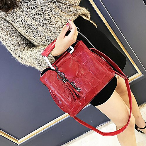 Handbag Bags Bags Bags Girls For Red Crossbody Top handle Shoulder Wild Retro ABq8Exwx