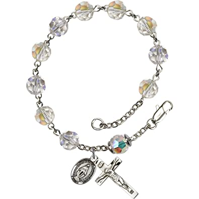 848e761228 Image Unavailable. Image not available for. Color: Sterling Silver Rosary  Bracelet 8mm Crystal ...