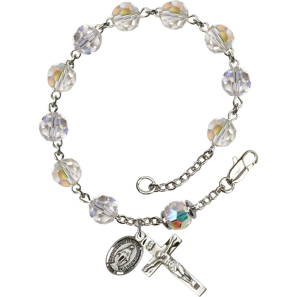 Sterling Silver Rosary Bracelet 8mm Crystal Swarovski, Capped Our Father Aurora Borealis beads, Crucifix sz 7/8 x 3/8.
