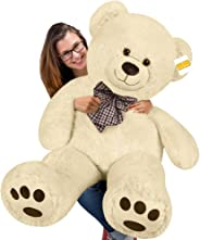 cucunu Big Teddy Bear Stuffed XL Plush Animal Large 3.3 ft for Kids and Adults with Big Pawprints and Eyes 40 Inch – Light B
