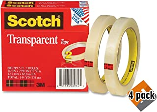 product image for Scotch Transparent Tape, Narrow Width, Engineered for Office and Home Use, Trusted Favorite, 1/2 x 2592 Inches, 3 Inch Core, 2 Rolls (600-2P12-72) - Set of 4