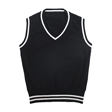 f91e4e4babe9 TOPTIE Boys V-Neck Knitted Sleeveless Pullover Uniform Sweater Vest with  Stripe-Black-