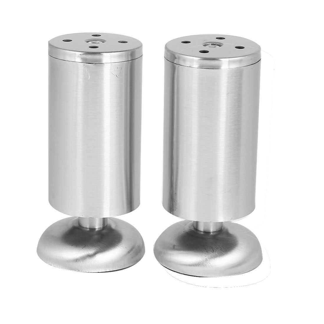 uxcell Furniture Cabinet Bed 50mmx120mm Round Stand Metal Adjustable Leg Feet 2pcs