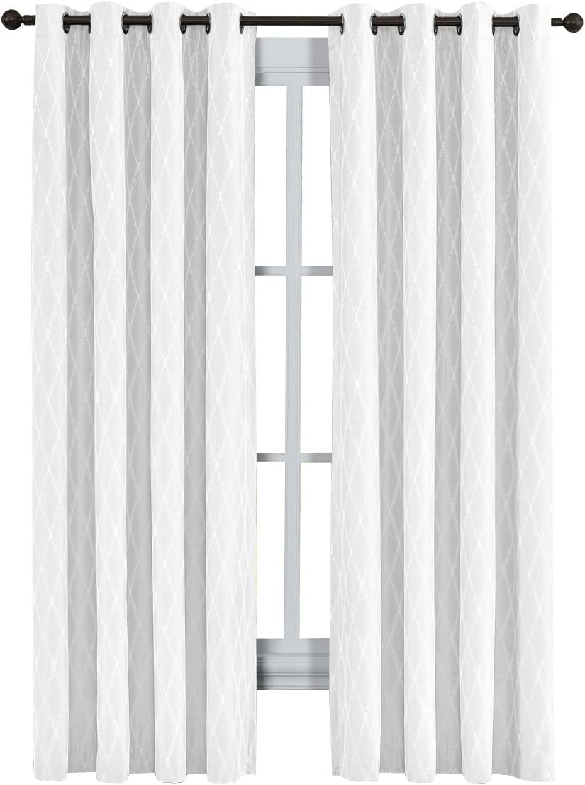 Royal Tradition Victoria 108-Inch Wide x 120-Inch Long, Jacquard Thermal Insulated, Set of 2 Blackout Curtains, White