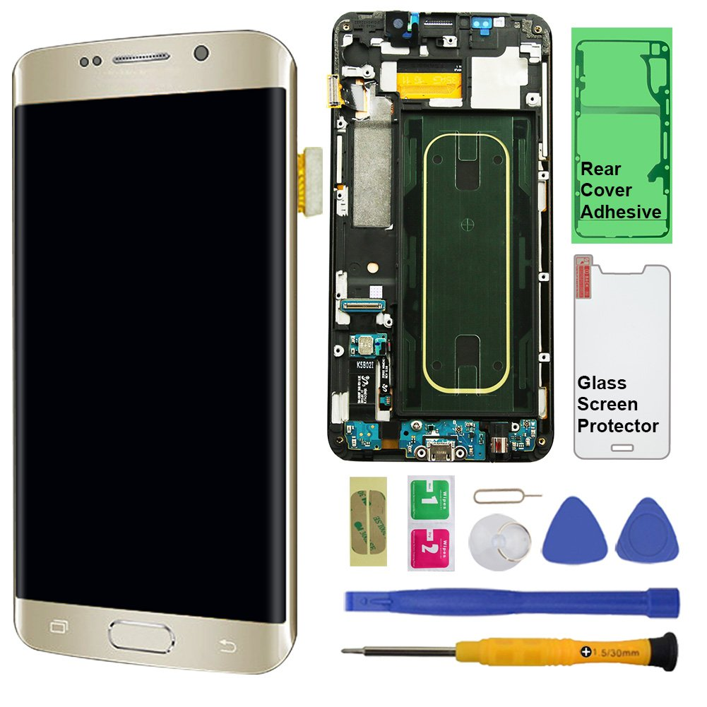 Display Touch Screen (AMOLED) Digitizer Assembly with Frame for Samsung Galaxy S6 Edge+ (Plus 5.7 inch) G928A (AT&T) (for Mobile Phone Repair Part Replacement) (Repair Tool Kits) (Gold Platinum)