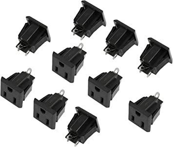5 PCS US 3 Pins Power Socket Panel Mount Receptacle AC125V 15A