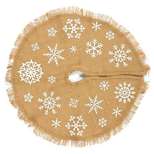 Juvale Christmas Tree Skirt - Circular Cotton Xmas Tree Decoration, Snowflake-Themed Christmas Tree Décor, Brown - 21.5 x 21.5 x 0.5 Inches