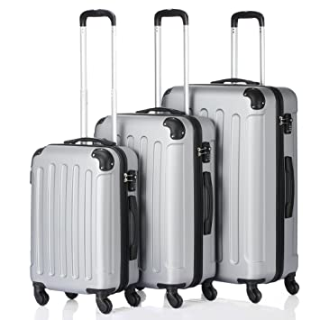 62488e103a7f 3 Pcs Luggage Set Hardside Travel Rolling Suitcase Trolly Hardshell  Lightweight ABS 20 24 28 inch (Gray)