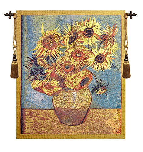 Sunflowers, Gold Belgian Tapestry by Charlotte Home Furnishings Inc.