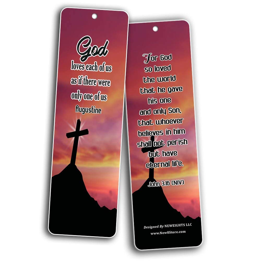 Popular Bible Verses About God's Love Bookmarks Cards (60-Pack) - Assorted Bulk Pack - John 3:16 Psalm 46:1 - Gift Ideas for Sunday School, Youth Group, Church Camp, Bible Study, Baptism, Homeschool by NewEights (Image #8)