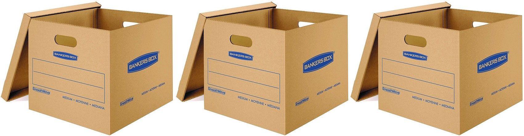 Bankers Box SmoothMove Classic Moving Boxes, Tape-Free Assembly, Easy Carry Handles, Medium, 18 x 15 x 14 inches, (7717204) (3 X Pack of 10)