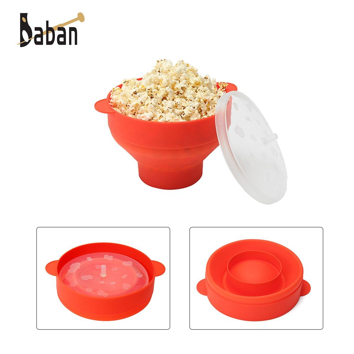 Baban - Palomitero para microondas, con asas, color rojo ...