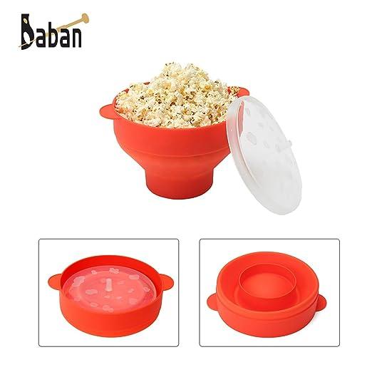 Baban - Palomitero para microondas, con asas, color rojo: Amazon ...