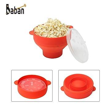 Baban - Palomitero para microondas, con asas, color rojo: Amazon.es: Bricolaje y herramientas
