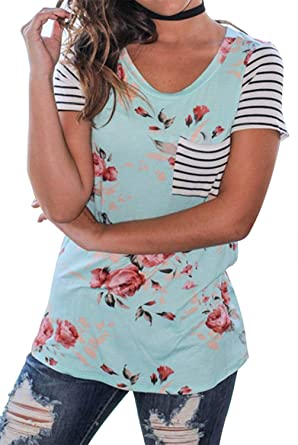71af023c Amazon.com: Women Floral Striped T Shirt O Neck Short Sleeve Tee Tops with  Pocket: Clothing