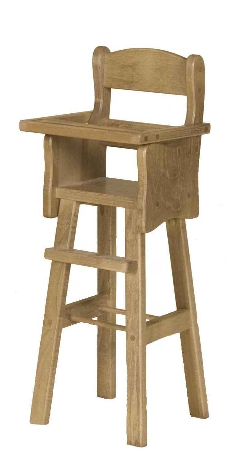 Amazon com clip clop 12 18 inch doll high chair usa handmade poplar wood furniture natural finish toys games