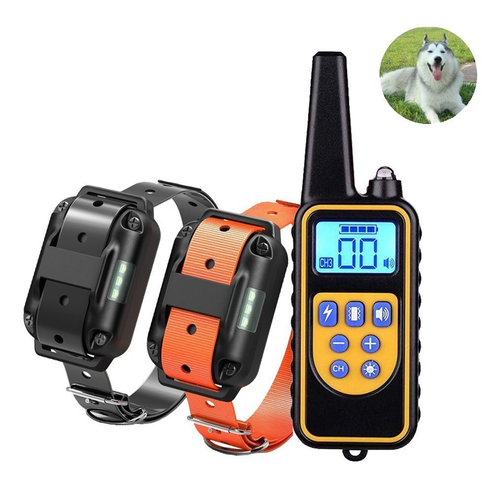 Andyshi Dog Training Collar Pet Trainer Waterproof Rechargeable Electric Shock Collar 800 yd Remote Dog Training Collar Sonic Barking Deterrent Beep Vibra Shock Electric E-Collar