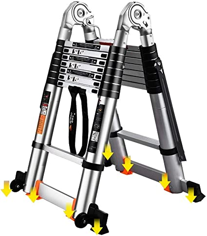 WGOOGA Escalera telescópica Multiusos con Ruedas Antioxidante de Aluminio Escalera Antideslizante Plegable con Marco en A Extensible Servicio Pesado for Exteriores (Size : 4.2m/13.8ft(2.1m+2.1m)): Amazon.es: Hogar