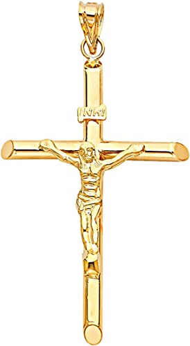 Polished Crucifix Necklace Charm Women Men 14K Solid Yellow Gold Cross Pendant