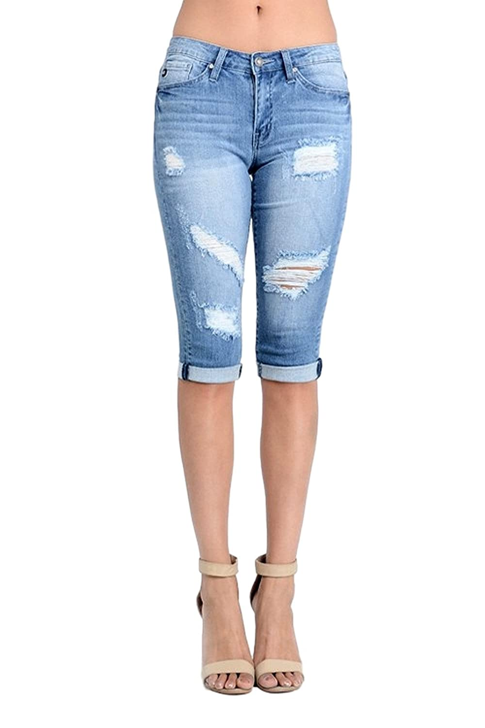 KAN CAN Women's Destroyed Bermuda Short Jeans