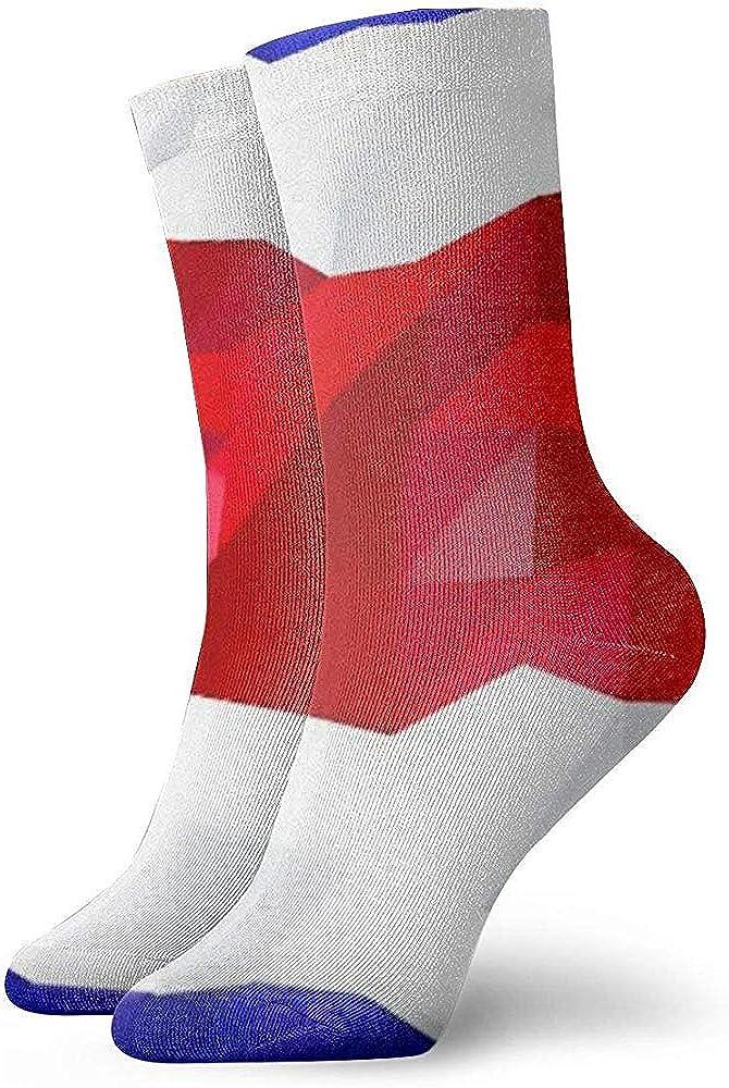 Tedtte Novedad Funny Crew Sock Bandera de Costa Rica Sport impreso Calcetines deportivos Calcetines de tubo personalizados de 30 cm de largo Calcetines de regalo
