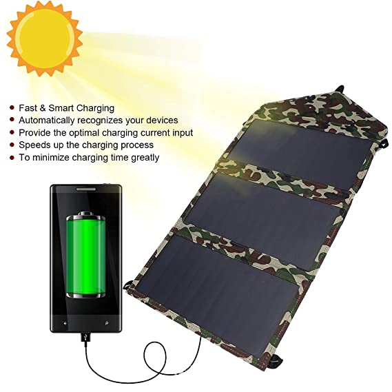 Cargador Solar, Plegable 25w Dual Usb de Alta Conversión ...