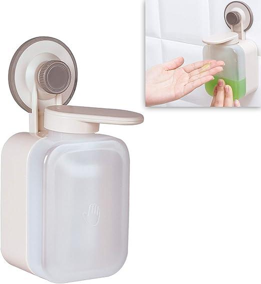 Schneespitze Distributore di Sapone,Bottiglia di Disinfettante Distributore Manuale di Sapone Gratuita a Parete Disinfettante,Dispenser di Sapone per Ventosa