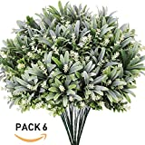 6 PCS UV Protected Outdoor Indoor Artificial Fake Shrubs Flowering Shrubs Bushes Faux Garden Evergreen Shrubs Spray in Grey Green -13.4'' Tall x 11'' Wide - 5 Clusters Each for Plant Decor Wall