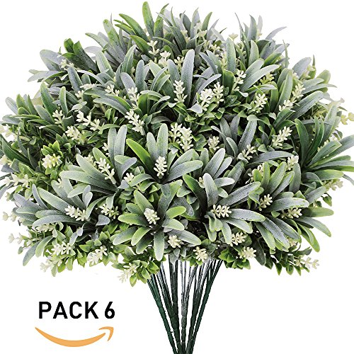 6 PCS UV Protected Outdoor Indoor Artificial Fake Shrubs Flowering Shrubs Bushes Faux Garden Evergreen Shrubs Spray in Grey Green -13.4'' Tall x 11'' Wide - 5 Clusters Each for Plant Decor Wall by besttoyhome