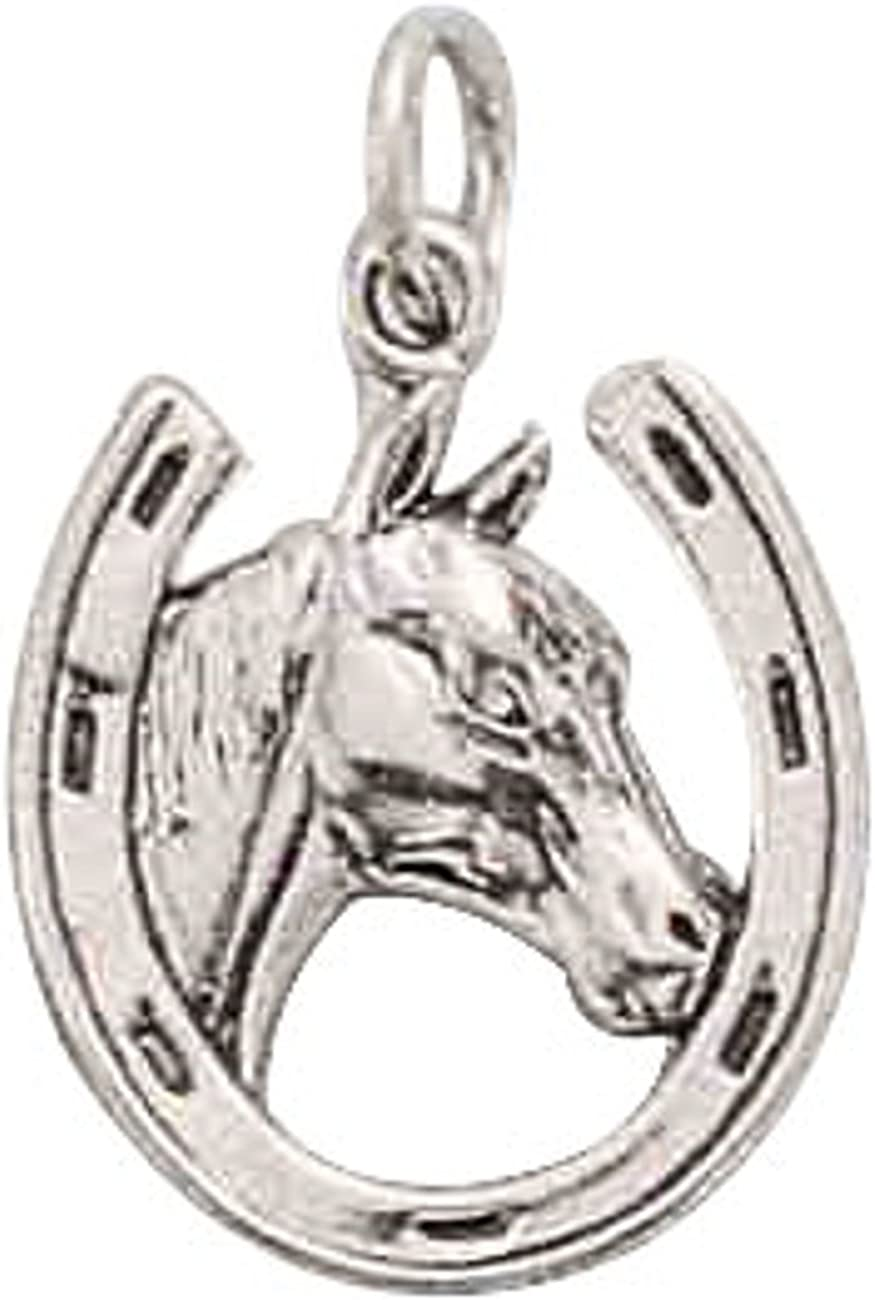 Sterling Silver Mens Unisex 1.5mm Box Chain Thoroughbred Horsehead Horseshoe Good Luck Pendant Necklace