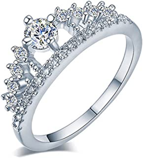 ZOUMOOL_Ring ✨Women's Crown Tiara Rings Exquisite Princess Tiny Diamond Promise Rings for Her Size 6-9