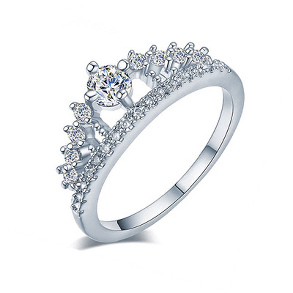 Women's Crown Rings Princess Round Zirconia CZ Diamond Chic Engagement Promise Rings Wedding Band (Silver, 8)