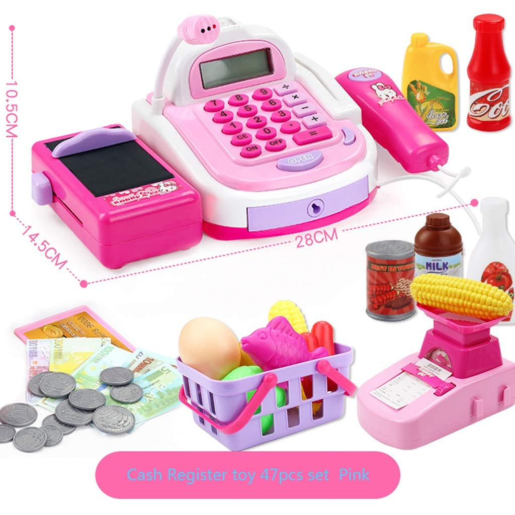 BJLWTQ 47Pcs Childrens Kids Cash Register Pretend Play Supermarket Shop Till Toys with Calculator,Working Scanner,Credit Card,Play Food,Money,Electronic Scale and More (Color : Pink)