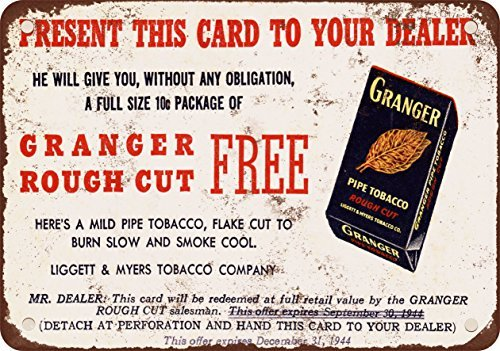 1944 Granger Pipe Tobacco Vintage Look Reproduction Metal Tin Sign 12X18 Inches (Pipe Confederate Tobacco)