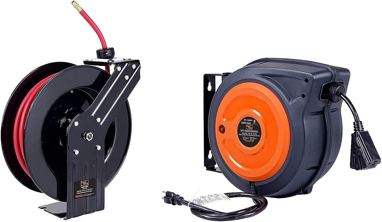 BUNDLE DEAL SuperHandy Air Hose Reel 3//8x50 /& Extension Cord Reel 16AWGx50
