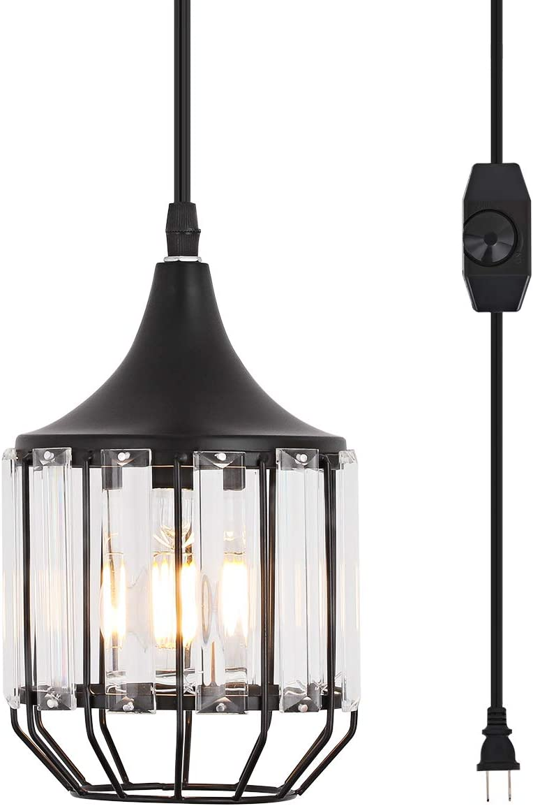 YLONG-ZS Hanging Lamps Swag Lights Plug in Pendant Light 16 FT Cord and Chain Hanging Pendant Light Cage in-Line On Off Dimmer Switch for Kitchen Island, Dining Room, Entryway Black Metal Finishing