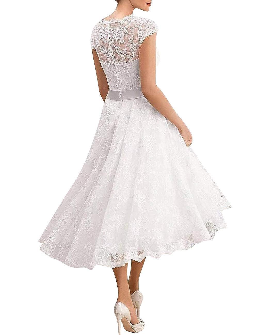 Linie V Spitzen A Vkstar® Ausschnitt Brautkleider Elegante Kurz shdrCBtQx