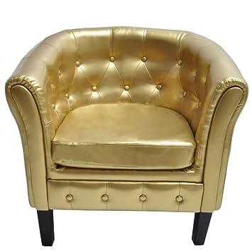 vidaXL Sillón de Chesterfield Color Oro Hogar Asiento Lujoso Silla Sofá muebles