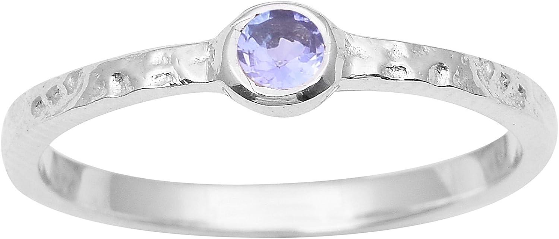 Shine Jewel Perla Redonda tanzanita Piedras Preciosas de Plata de Ley 925 Anillo Martillado Anillo de la joyería