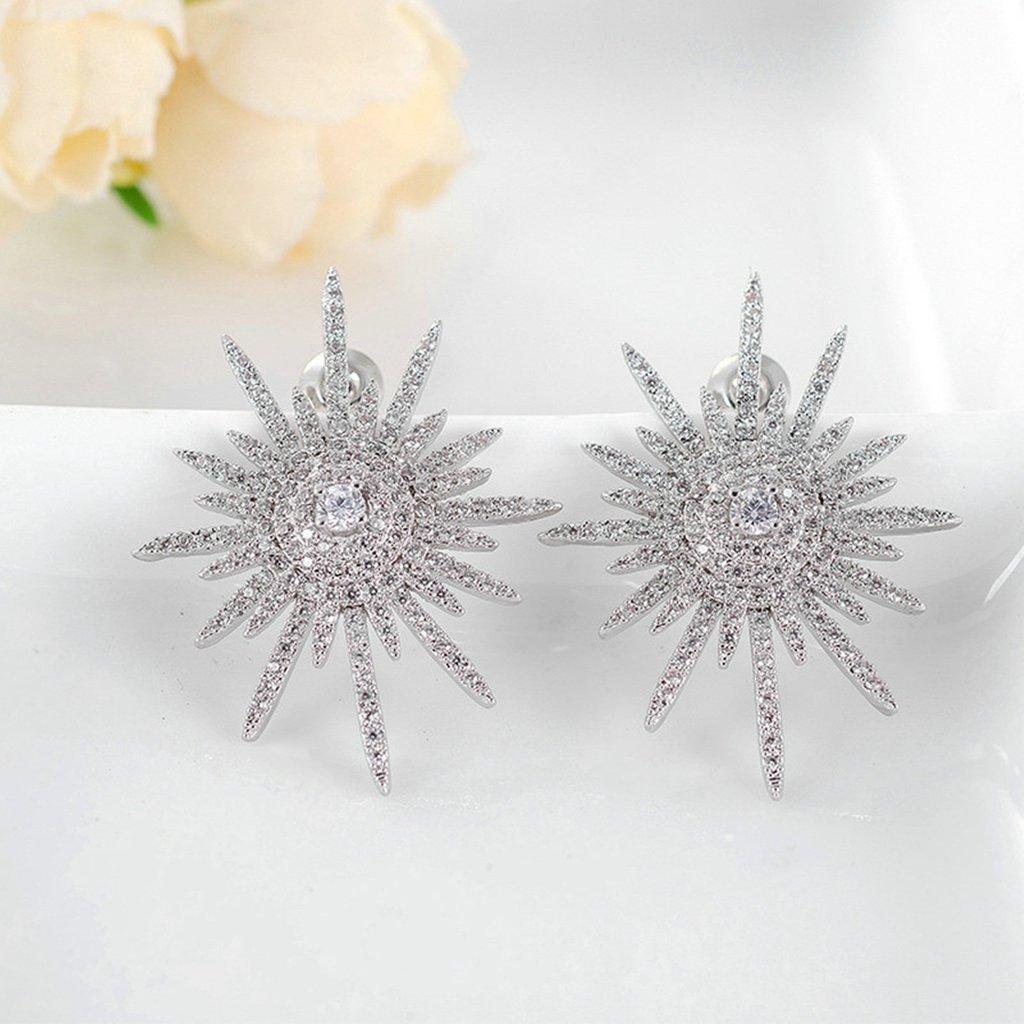 Gold Plated Earring Women Girl irregular Stud Earrings White Wedding Birthday Gift Crystal Stone