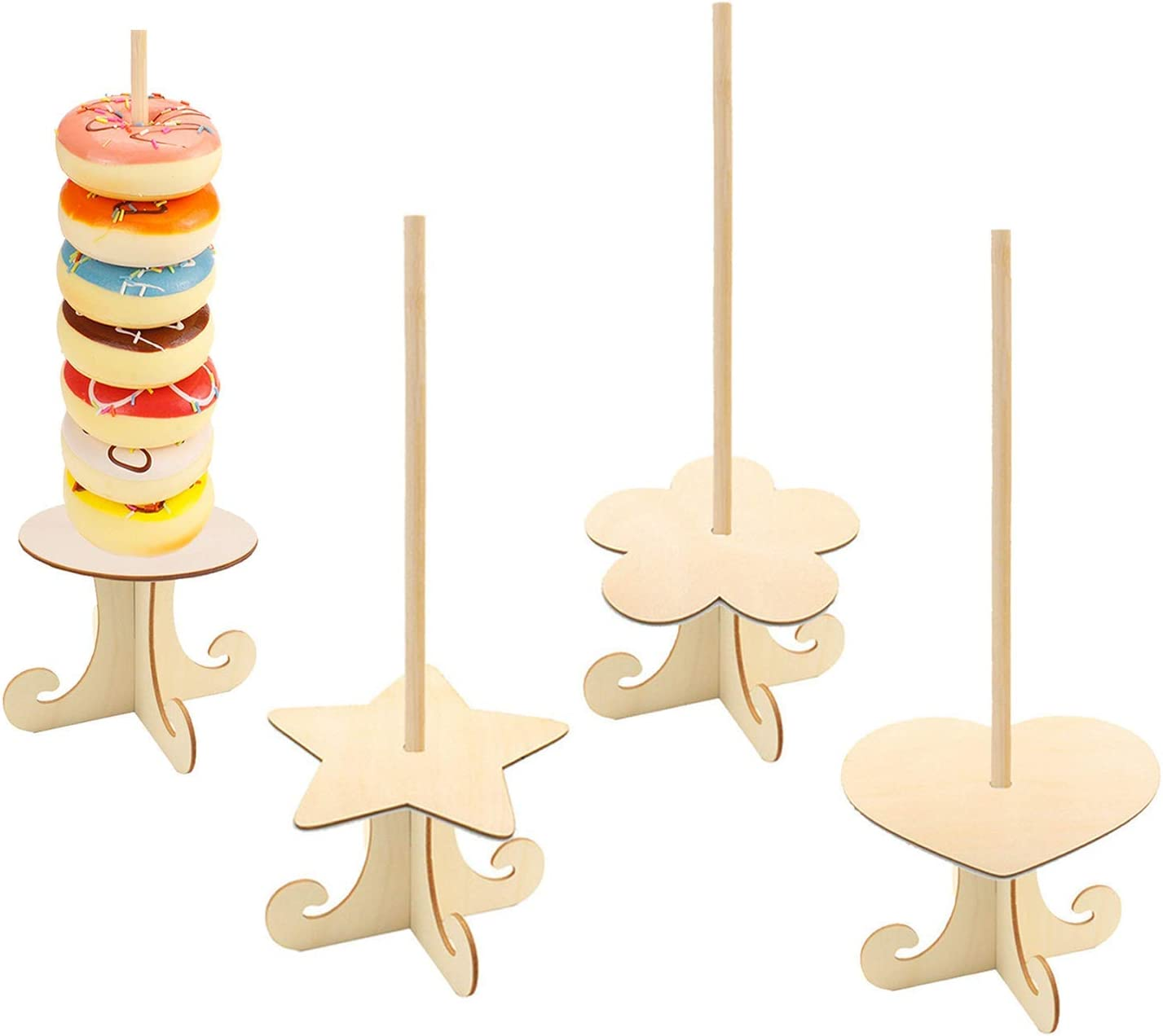 Chris.W 4Pack Donut Display Stand Creative Shape Wooden Donuts Bagels Dessert Display Holder Table for Wedding Baby Showers Bridal Shower Birthday Party Decor Favor