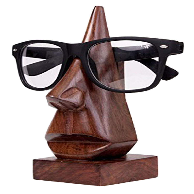 GD Handmade Wooden Nose-Shaped Spectacle Holder Eyeglass Holder,Specs Stand,Sunglasses Holder,Wooden Eyeglass Stand for Men-Women-Kids for Office Desktop//Tabletop Color Brown .
